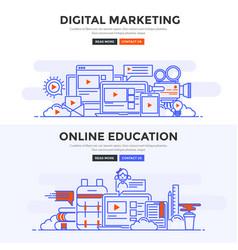 flat design concept banner - digital marketing vector image vector image