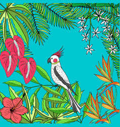 Floral hand drawn tropic background vector