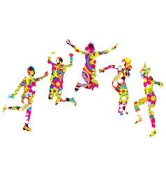 Floral patterned young people silhouettes jumping vector image vector image