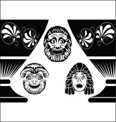 greek masks vector image vector image