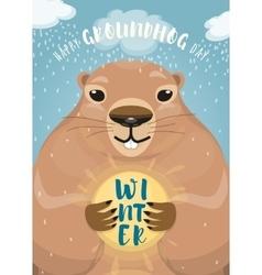 Happy groundhog day design vector