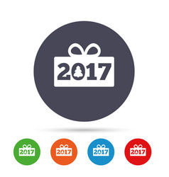 happy new year 2017 sign icon christmas gift vector image