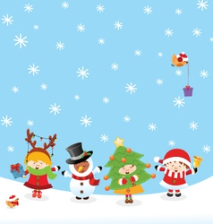 Kids With Christmas Costume vector image