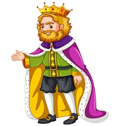 King wearing purple robe vector
