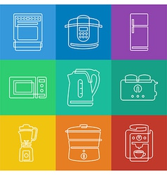 Kitchen appliances icons vector image vector image