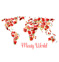 meat world map poster with beef pork ham bacon vector image vector image