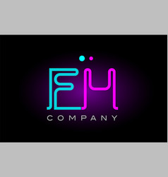 neon lights alphabet fh f h letter logo icon vector image vector image