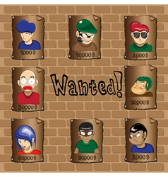 Posters of a wanted bandit vector