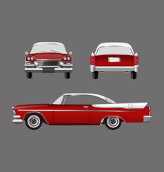 Red retro car on gray background vector