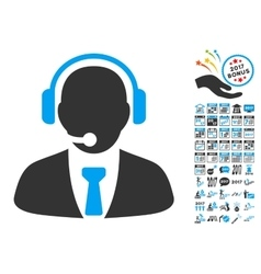 Support manager icon with 2017 year bonus vector