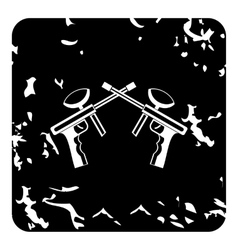 Two paintball gun icon grunge style vector
