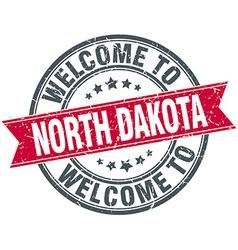 Welcome to north dakota red round vintage stamp vector