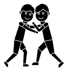 Wrestling - fight icon black vector