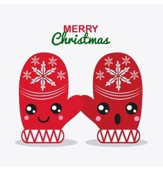 Kawaii gloves merry christmas design vector
