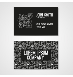 Business card template whit funny doodle monsters vector