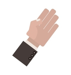 Palm view of side hand with formal suit sleeve vector