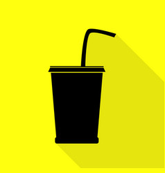 Drink sign  black icon with flat vector
