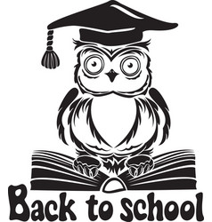 Decorative bird - owl with graduation cap and book vector
