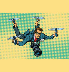 People journalist quadcopter drone vector