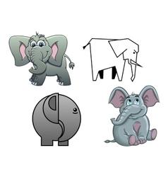 Cute cartoon baby elephants vector image