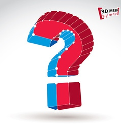 3d mesh stylish red and blue web question mark vector