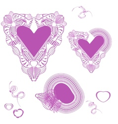 Delicate pink hearts valentine day strokes hand vector