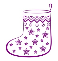 Christmas stocking with stars vector