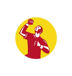 Athlete fist pump circle retro vector