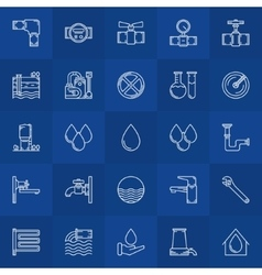 Water supply line icons vector
