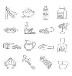 Soy food line set vector