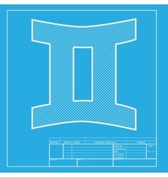 Gemini sign white section of icon on blueprint vector
