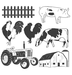 Agricultural objects set isolated on white vector