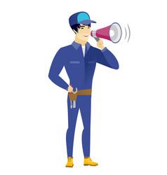 Asian mechanic talking into loudspeaker vector