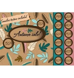 Autumn sale poster with seamless texture vector image