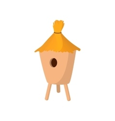 Beehive covered with straw cartoon icon vector image vector image