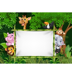 Cartoon african animals with blank sign vector