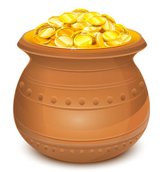 Ceramic pot with gold coins vector image