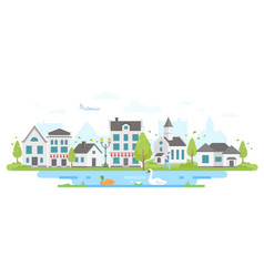 Cityscape with a pond - modern flat design style vector