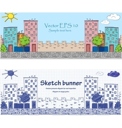 Cityskape doodle baners vector