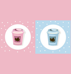 Coffee paper cups set icon template pink quartz vector