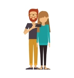 Couple where man of beard and glasses take selfie vector
