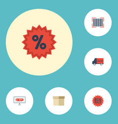 Flat icons qr shopping percentage and other vector