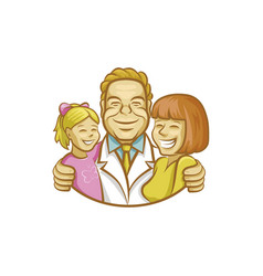 happy doctor hugging mother and girl vector image vector image