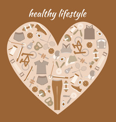 healthy lifestyle background in heart shape vector image