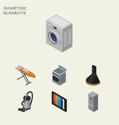 Isometric device set of kitchen fridge television vector