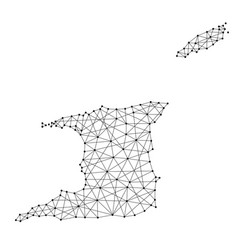 map of trinidad and tobago from polygonal black vector image