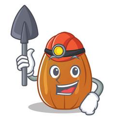 Miner almond nut character cartoon vector