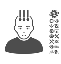 Neural interface icon with tools bonus vector