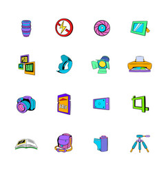 Photography set icons set cartoon vector