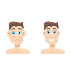 Plastic surgery man before and after otoplasty vector